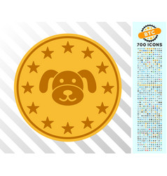 Puppy coin flat icon with bonus vector