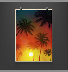 realistic billboard summer palm trees date palms vector image