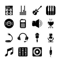 recording studio symbols icons set simple style vector image