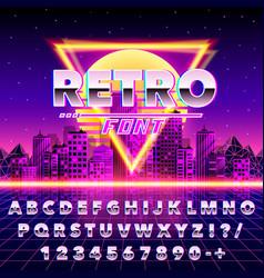 retro font vintage on neon city background vector image