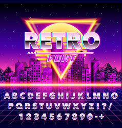 Retro font vintage on the neon city background vector