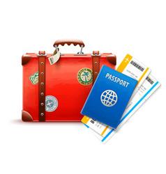 Retro suitcase passport vector