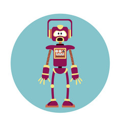 Robot intelligence artificial circle icon vector