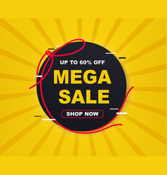 sales banner template design mega big sale vector image