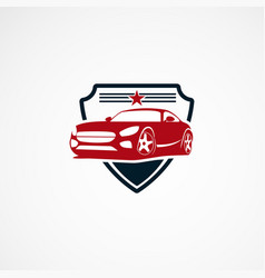 Secure car logo designs concept with star for vector