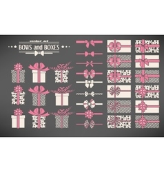 set bows and gift boxes vector image