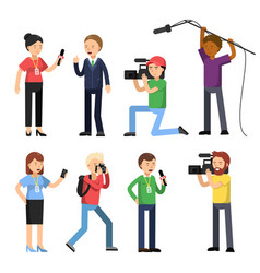 set characters of broadcasting reportage and vector image