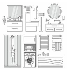 set of furniture in bathroom vector image
