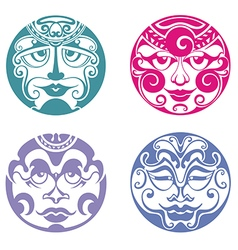 Set of polynesian tattoo styled masks vector