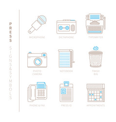 set of press icons and concepts in mono thin line vector image