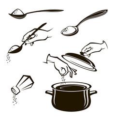Set of spoon salt shaker and pan vector
