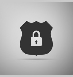 shield security icon isolated flat design vector image