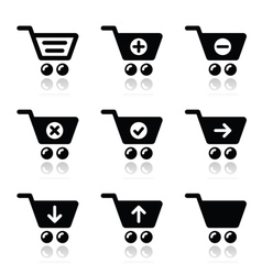 Shopping cart icons set vector image
