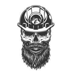 skull in miner helmet vector image