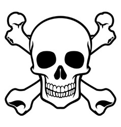 Skull with cross bone vector