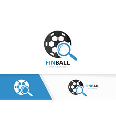 soccer and loupe logo combination ball and vector image