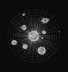Solar system in dotwork style planets in orbit vector