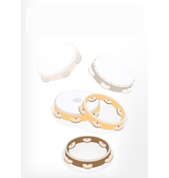 Three Tambourine on Brown Stage Background vector