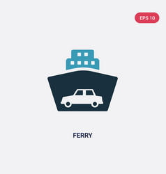 Two color ferry icon from transport concept vector