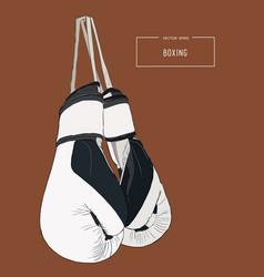 Vintage boxing gloves hanging sketch vector