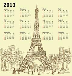 vintage hand drawn eifel tower 2013 calendar vector image