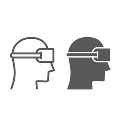 vr device line and glyph icon gaming and virtual vector image