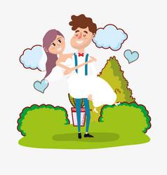 Wedding card design cartoon vector