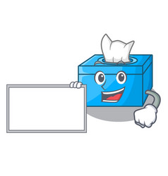With board character tissue box on wood floors vector