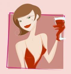 Woman drinking wine vector