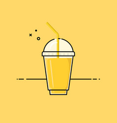 Yellow healthy smoothie vector
