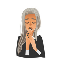 young bored or tired woman yawning and covering vector image