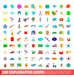 100 exploration icons set cartoon style vector image vector image