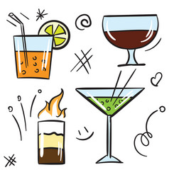 cocktail color icon set isolated on white vector image vector image