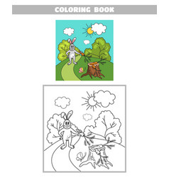 coloring book hare with carrot vector image