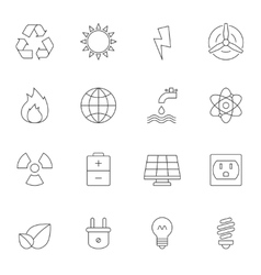 Eco energy outline icons vector image vector image