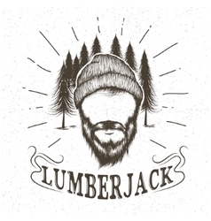 Face of lumberjack with beard and hat vector image vector image