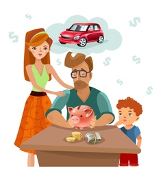 Family budget finance plan flat poster vector