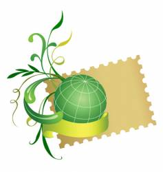 postage stamp and globe vector image vector image