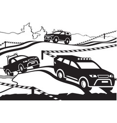rally with off-road vehicles vector image vector image