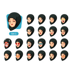 the first set of muslim woman cartoon avatars vector image vector image