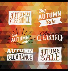 Vintage autumn geometric clearance banner vector