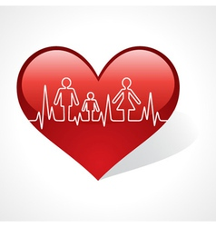 Heartbeat make family icon inside the heart symbol vector image vector image