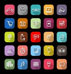 Media marketing line icons with long shadow vector image vector image