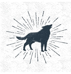 Sign of howling wolf vector image vector image