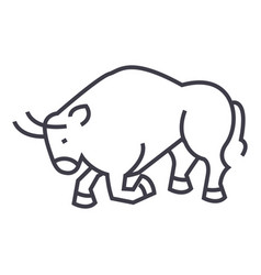 bull fightspain line icon sign vector image vector image
