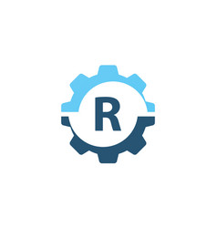gear solution logo initial r vector image vector image