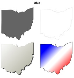 Ohio outline map set vector image vector image