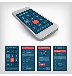 set of blue ui mobile design vector image
