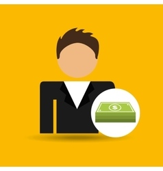 character man bill money stack icon vector image