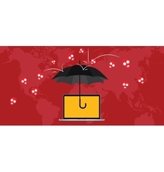 virus attack protection with umbrella and skull vector image